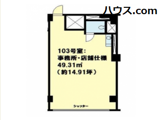横浜市内の動物病院向け賃貸店舗物件間取り図画像