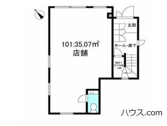新築・鎌倉のトリミングサロン・ペットホテル向け賃貸店舗物件間取り図画像