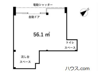 江戸川台のトリミングサロン賃貸店舗の間取り図画像
